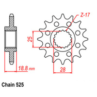FRONT SPROCKET - STEEL 17T 525P