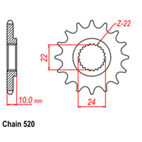 FRONT SPROCKET - STEEL 14T 520P