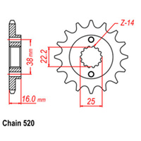 FRONT SPROCKET - STEEL 16T 520P