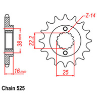 FRONT SPROCKET - STEEL 14T 525P