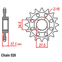 FRONT SPROCKET - STEEL  14T #520 (NEW 2018)