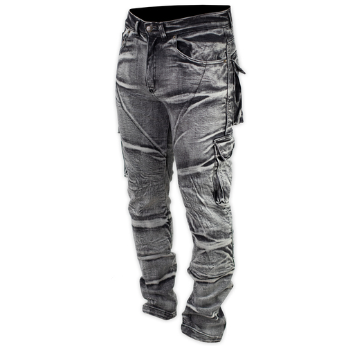 Shark Mens Protective Distressed Stretch Cargos [Colour: Black/Grey] [Size: 48]